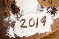 L'inscription sur la farine - 2014 Photos libres de droits