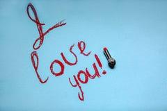 L'inscription sur le fond de turquoise : Je t'aime ! Photographie stock libre de droits
