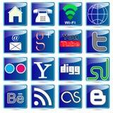 L'insegna abbottona le icone di web. Fotografia Stock Libera da Diritti