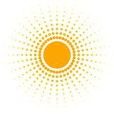 L'insegna astratta arancio dello spazio in bianco dei punti progetta l'elemento sotto forma di sole con i raggi punteggiati in un illustrazione di stock