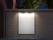 L'insegna in bianco con il nero ha illuminato la struttura sui mura di mattoni, la rappresentazione 3d fotografia stock