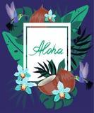 L'insegna con i fiori tropicali, foglie di palma, colibrì, monstera, orchidea, noce di cocco, giungla lascia la composizione Vett royalty illustrazione gratis
