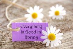 L'insegna con tutto è buona in primavera Fotografia Stock