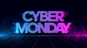 L'insegna cyber di impulso errato di lunedì Retrowave con blu e porpora emette luce con fumo e le particelle illustrazione vettoriale