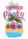 L'insegna del partito dell'estate con la struttura dell'ananas e l'estate abbelliscono in  illustrazione di stock