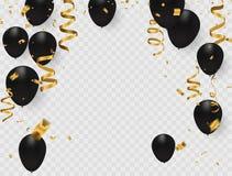 L'insegna del partito della celebrazione con oro balloons su fondo bianco Immagini Stock Libere da Diritti