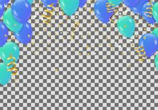 L'insegna del partito della celebrazione con verde ed il blu balloons il fondo royalty illustrazione gratis
