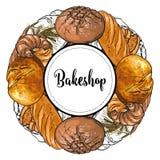 L'insegna di Bakeshop con variopinto e la linea hanno cotto di recente il pane, la pagnotta ed i croissant nello stile di schizzo illustrazione vettoriale
