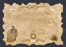 L'insegna di carta con lo spazio della copia ed il pirata tracciano Immagine Stock