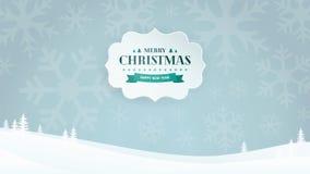 L'insegna di carta 3D con il distintivo d'annata tipografico del nuovo anno e di Natale sull'inverno abbellisce il fondo con i fi illustrazione di stock