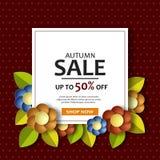 L'insegna di vendita di autunno con carta ha tagliato i fiori 3D royalty illustrazione gratis