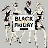 L'insegna di vendita di Black Friday con le ragazze di modo, bella donna modella la raccolta sociale del modello Web degli annunc Fotografia Stock Libera da Diritti