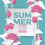 L'insegna di vendita dell'estate con carta ha tagliato la struttura ed i fiori di loto rosa di fioritura su fondo blu per l'inseg illustrazione vettoriale
