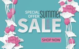 L'insegna di vendita dell'estate con carta ha tagliato la struttura ed i fiori di loto rosa di fioritura su fondo floreale per l' illustrazione di stock
