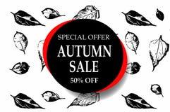 L'insegna di vettore del testo di vendita di autunno con la caduta stagionale in bianco e nero lascia nel fondo bianco e rosso pe Immagini Stock