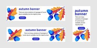 L'insegna di web della quercia di autunno va e ghiande Insegna di promo per royalty illustrazione gratis