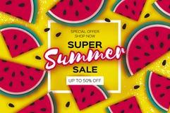 L'insegna eccellente di vendita dell'estate dell'anguria in carta ha tagliato lo stile Fette mature succose dell'anguria di origa illustrazione di stock