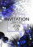 L'insegna elegante dell'invito di VIP con i vetri e le bottiglie dell'albero del palme e del champagne va royalty illustrazione gratis