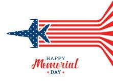 L'insegna felice di Giorno dei Caduti con il volo dell'aeroplano di guerra fa la bandiera astratta degli S.U.A. vector la progett royalty illustrazione gratis