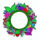 L'insegna rotonda disegnata a mano con i fiori, le foglie e lo spazio della copia per le vostre abitudini manda un sms all'arricc Immagine Stock