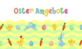 L'insegna sveglia tedesca con le uova decorate colorate, fumetto di vettore di vendita di Pasqua chiken e Pasqua banny, coniglio  Fotografie Stock Libere da Diritti