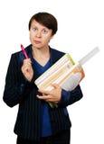 L'insegnante con gli accessori del banco Immagini Stock