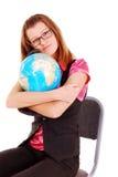 L'insegnante di geografia con il globo. Fotografia Stock