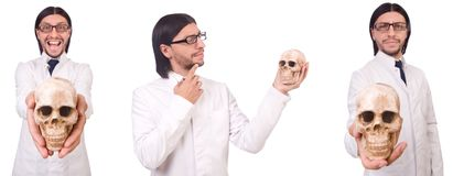 L'insegnante divertente con lo scheletro isolato su bianco Immagine Stock