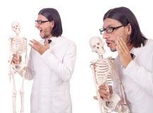 L'insegnante divertente con lo scheletro isolato su bianco Immagini Stock