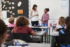 L'insegnante e l'allievo stanno alla parte anteriore della classe della scuola elementare Fotografie Stock Libere da Diritti
