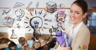 L'insegnante femminile che sorride con l'istruzione firma dentro la priorità alta Immagine Stock