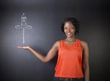 L'insegnante sudafricano o afroamericano della donna raggiunge il successo nell'istruzione Fotografie Stock Libere da Diritti