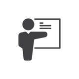 L'insegnante, vettore dell'icona dell'istruttore, ha riempito il segno piano, pittogramma solido isolato su bianco Simbolo di add royalty illustrazione gratis