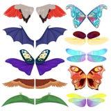 L'insetto leggiadramente traversa gli insetti volando del pipistrello e della farfalla dell'uccello alati costume di carnevale de illustrazione di stock