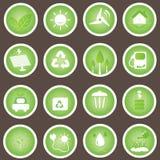 L'insieme amichevole di vettore delle icone di Eco va verde Fotografia Stock