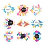 L'insieme astratto di progettazione di logo, forma geometrica variopinta firma le illustrazioni di vettore royalty illustrazione gratis
