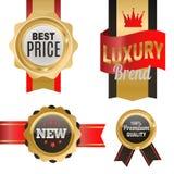 L'insieme autoadesivi dei prezzi di vendita del prodotto del negozio dei distintivi di vettore di migliori e la pubblicità di com Fotografie Stock