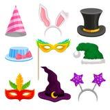 L'insieme capo della decorazione di travestimento e del partito, il cappello, la maschera, orecchie per la celebrazione di festa  illustrazione di stock