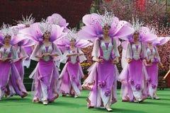 L'insieme cinese in vestiti lilla Fotografia Stock
