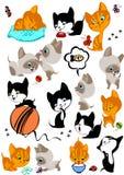 L'insieme completo dei gattini allegri differenti illustrazione vettoriale