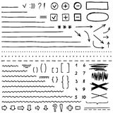 L'insieme degli elementi disegnati a mano per pubblica e seleziona il testo Indicatore nero Illustrazione Vettoriale