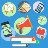 L'insieme degli elementi e dell'ufficio dell'interfaccia obietta le icone Fotografia Stock