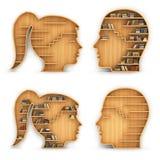 L'insieme degli scaffali per libri sotto forma di uomo e la donna si dirigono royalty illustrazione gratis