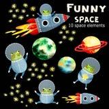 L'insieme dei bambini con i pianeti ed il razzo royalty illustrazione gratis