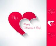 L'insieme dei biglietti di S. Valentino di vettore coppia il segno con due cuori nella progettazione piana moderna Elemento di pr Fotografia Stock Libera da Diritti