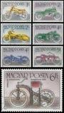 L'insieme dei bolli stampati in Ungheria mostra i motocicli Immagini Stock