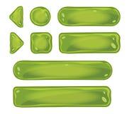 L'insieme dei bottoni verdi di vetro per il gioco collega Fotografie Stock
