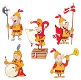 L'insieme dei cavalieri svegli dell'illustrazione del fumetto per voi progetta Fotografia Stock