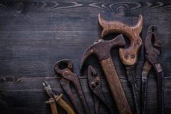 L'insieme dei colpi di forbici della latta delle pinze delle pinze della sega a mano martella Fotografia Stock