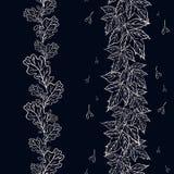 L'insieme dei confini floreali senza cuciture con la quercia e le foglie di acero e vedono royalty illustrazione gratis
